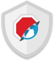 Adblock Browser icon against a shield