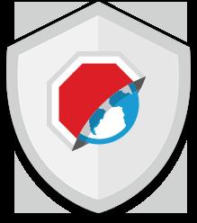 Значок Adblock Browser на фоне щита
